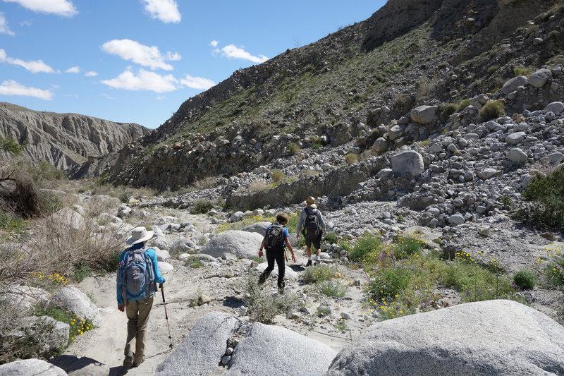 Hiking out of Smoke Tree Canyon