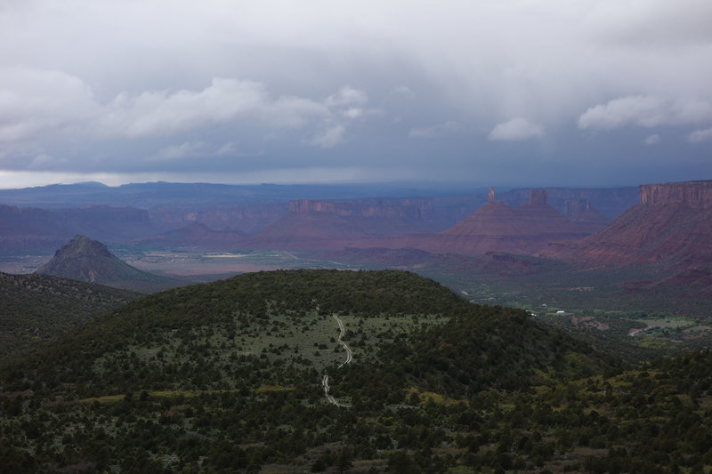 View of FR 4629 to the northwest from a switchback in the La Sal Loop Road.