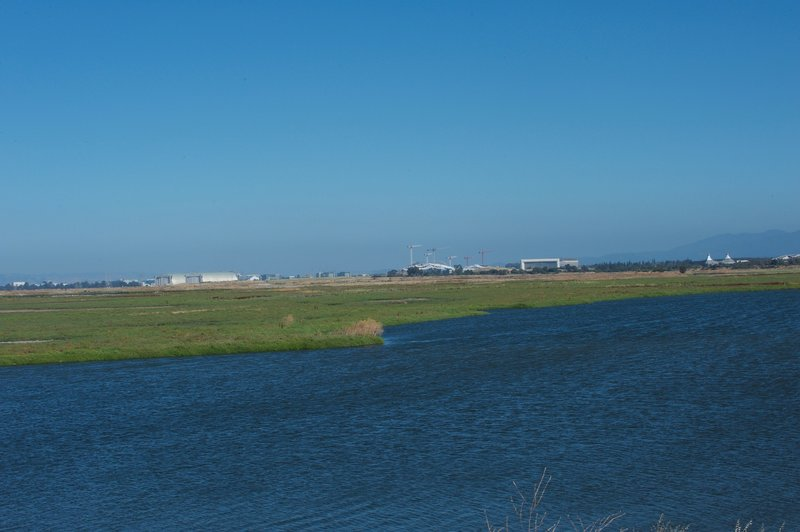 Looking down toward Shoreline, you can see the Matadero Creek as it makes it way to the bay.