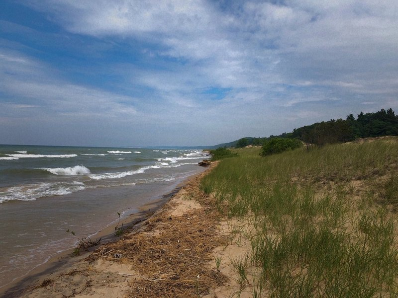 Looking northwest just as you exit the trail into Lake Michigan.