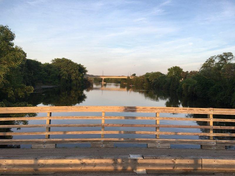 Vehicle bridge facing east. Huron Parkway bridge in distance.