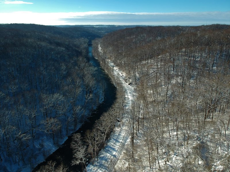 View of the Patapsco Valley looking downstream from above the Hollofield Overlook.