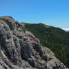 Splashes of pink on the tip top of Sturgeon Rock with Silver Star's peaks center back and Hood to the right