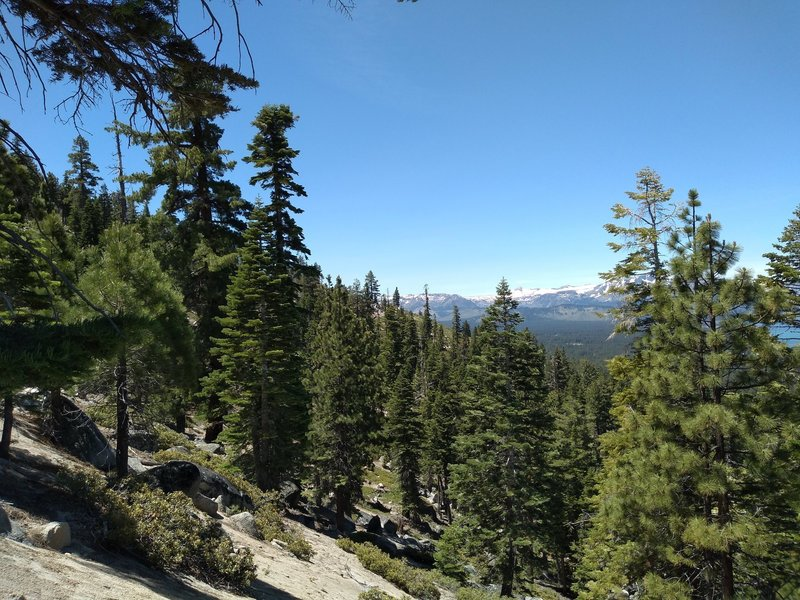 View of the trail and Sierra Nevada Mtn in distance