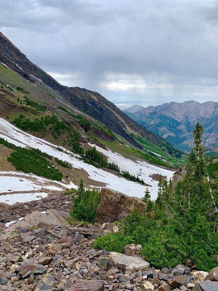 Looking back down Broad's Fork, from below Dromedary Peak