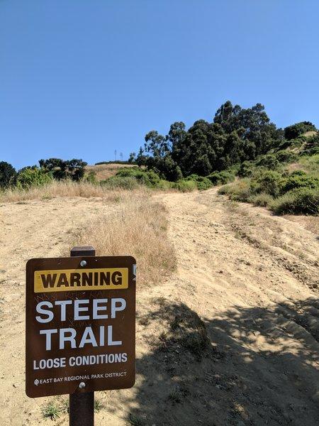 Steep trail sign.