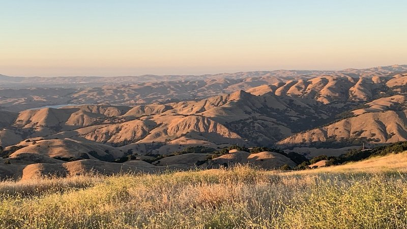 Looking north at sunset on a warm July evening. Hills were covered with dry grass from here to Mt. Diablo.