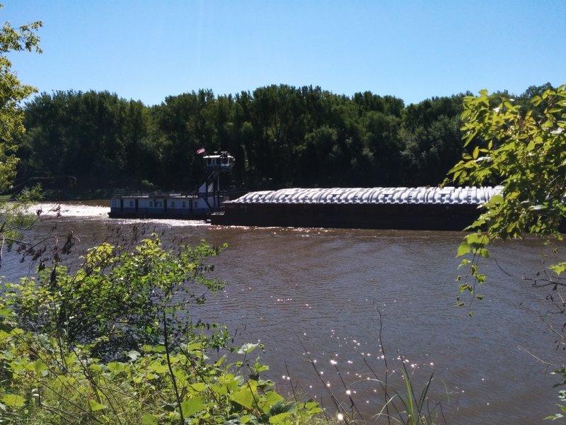 Barge coming through on Minnesota River.