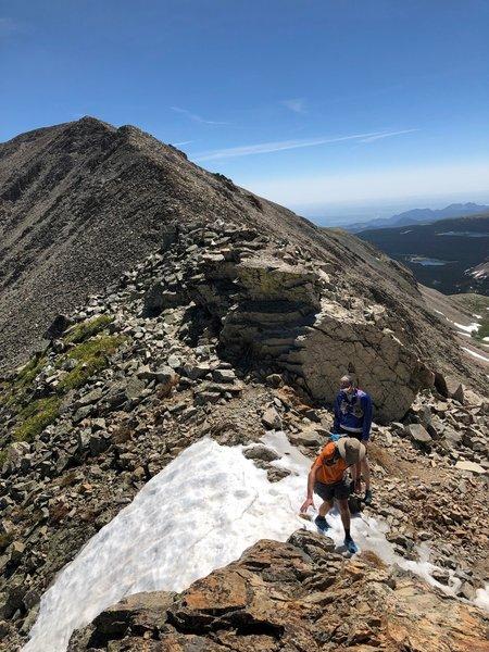 Typical terrain on the Paiute East Ridge. Mt. Audubon summit in the back.