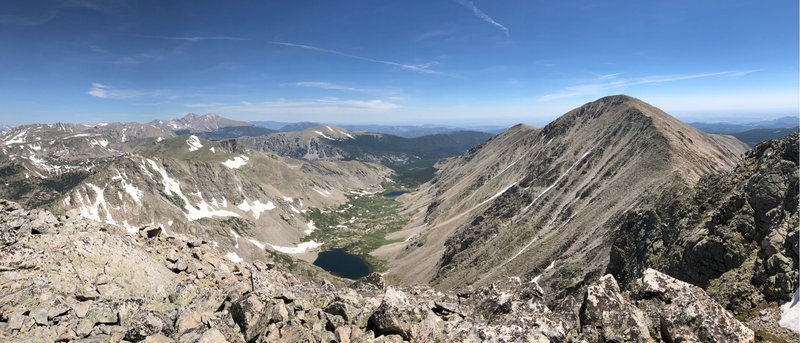 Mt. Audubon (right), the Coney Lakes basin (center), and the peaks of Wild Basin and the northern IPW (left) from the summit of Paiute.