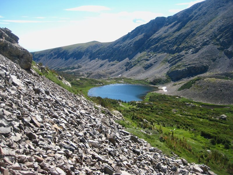 Lower Coney Lake. At this point, climbing 500 feet of loose talus seemed more fun than bashing through more willows.