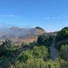 Fog burning off over the hills.