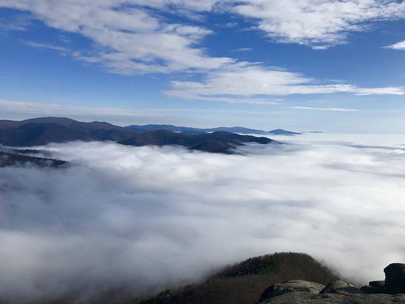 Summit, low fog.