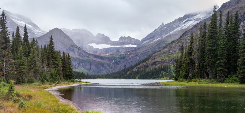 Lake Josephine with Grinnell Glacier and Grinnell Falls.