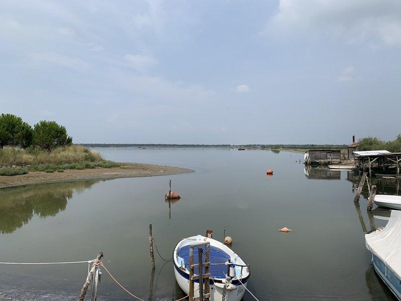 Boat and coastal huts.