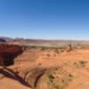 A panoramic view of Delicate Arch.