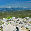 A small portion of the 160 degree panorama visible as you climb the ridge to Railbow Lake. The trail avoids this talus.