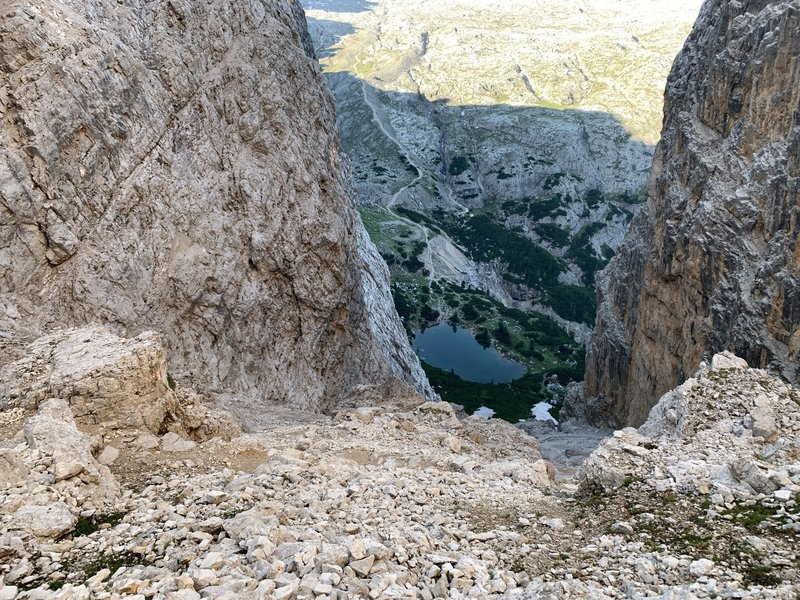 Forcella del lago step descent.