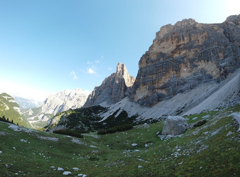 Forcella del Lago from the bottom.