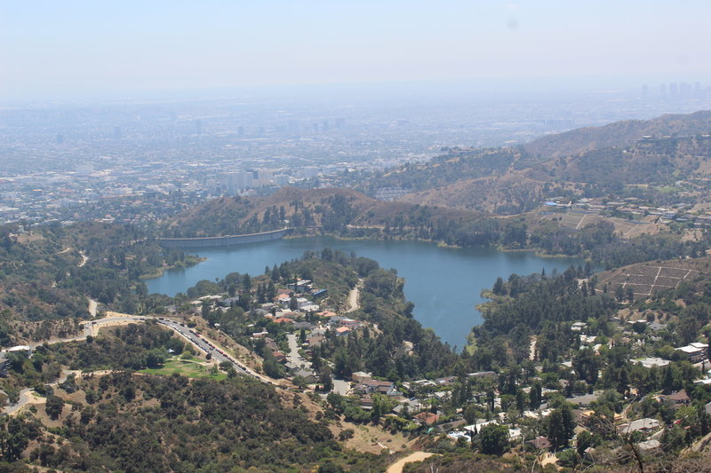 View from behind the sign overlooking Hollywood Reservoir.