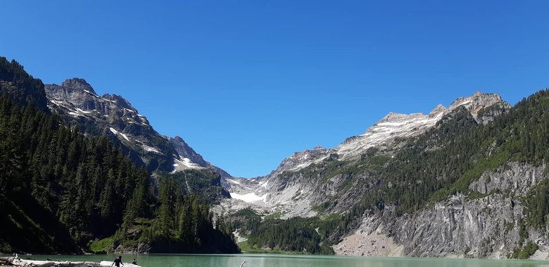Looking out across Blanca Lake toward the Columbia Glacier. Columbia Peak to the left and the Keyes Peak to the right.