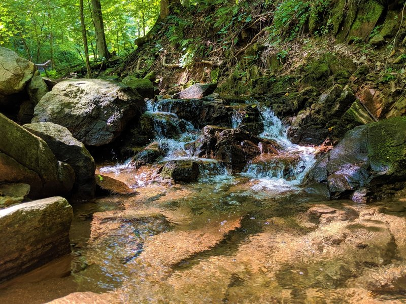 Small waterfall along the Whoop de Doos Trail.