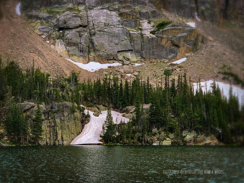 Glacier Gorge Trail, Rocky Mountain National Park. View looking west across Loch Lake. Elevation 10,180 feet.