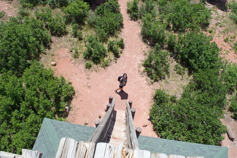 Looking down from the fire tower.