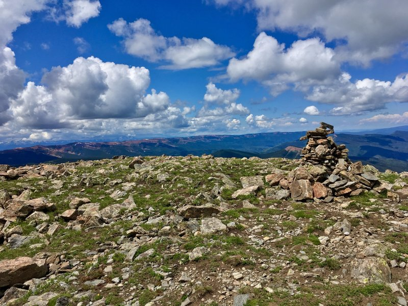 View from the summit with Summit Cairn marker - looking South/Southwest.