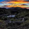 Sunset above an alpine lake.