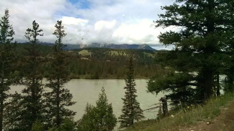 Looking northwest across the Athabasca River to Pyramid Mountain in the clouds, from the Athabasca River Trail.