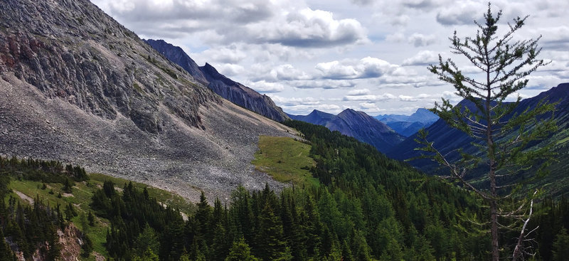 Viewpoint on Ptarmigan Cirque Trail, overlooking Highwood Pass.