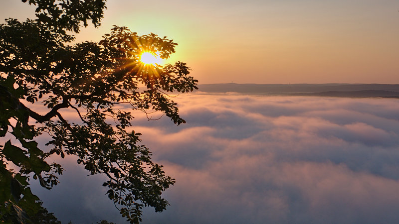 It's not often you are above the clouds in eastern Pennsylvania, but the cool Delaware River often creates a cloud inversion below the ledges of Cliff Park in the Delaware Water Gap National Recreation Area.