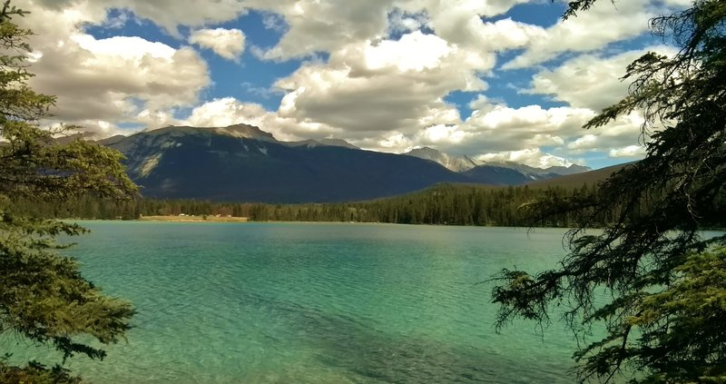 Lake Annette. In the distance is Roche Bonhomme (center left) and the Colin Range (right center).