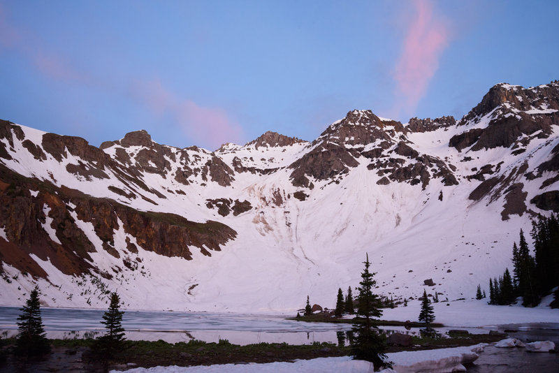 Lower blue lakes at sunset. Still frozen and lots of snow in early July.