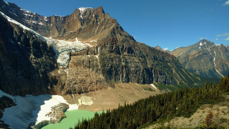 Angel Glacier below Mt. Edith Cavell's west shoulder, with Cavell Pond below. Franchere Peak is on the right in the background.