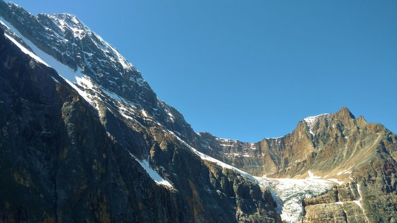 Looking up at Mt. Edith Cavell with Angel Glacier, from the first Cavell Meadows viewpoint.