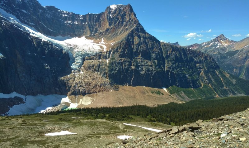 Angel Glacier below the west shoulder of Mount Edith Cavell, as seen from the second Cavell Meadows viewpoint.