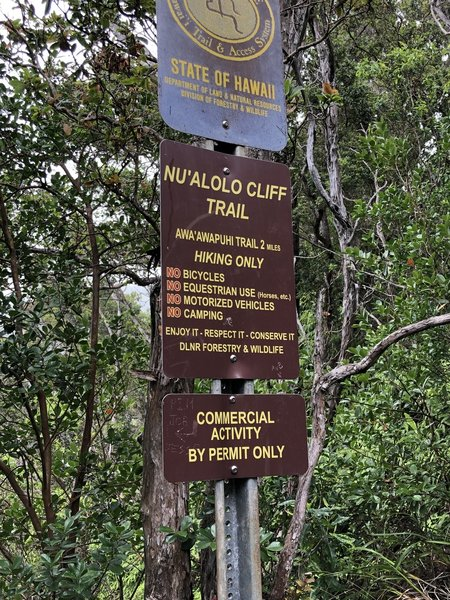 Start of Cliff Trail at Nualolo side