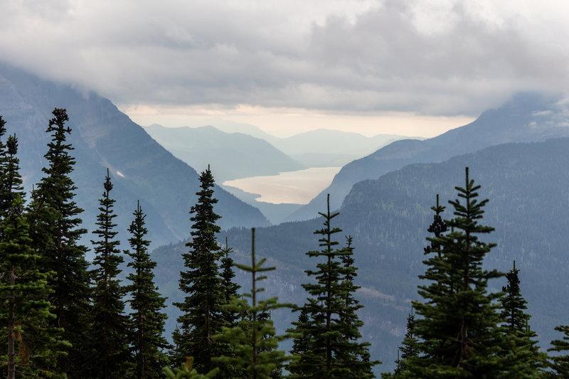 Lake McDonald far across the valley.