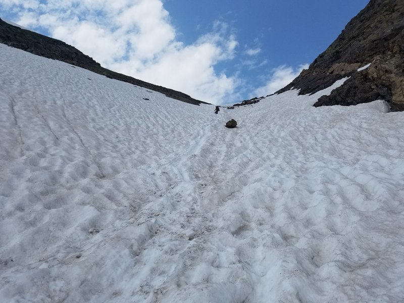 Snow at the top of Fancy Pass on east side in early August 2019.