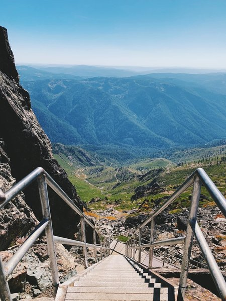 down the stairs of the Sierra buttes fire lookout tower