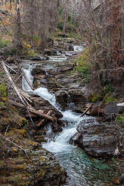 Small waterfall just below the Sunrift Gorge bridge.