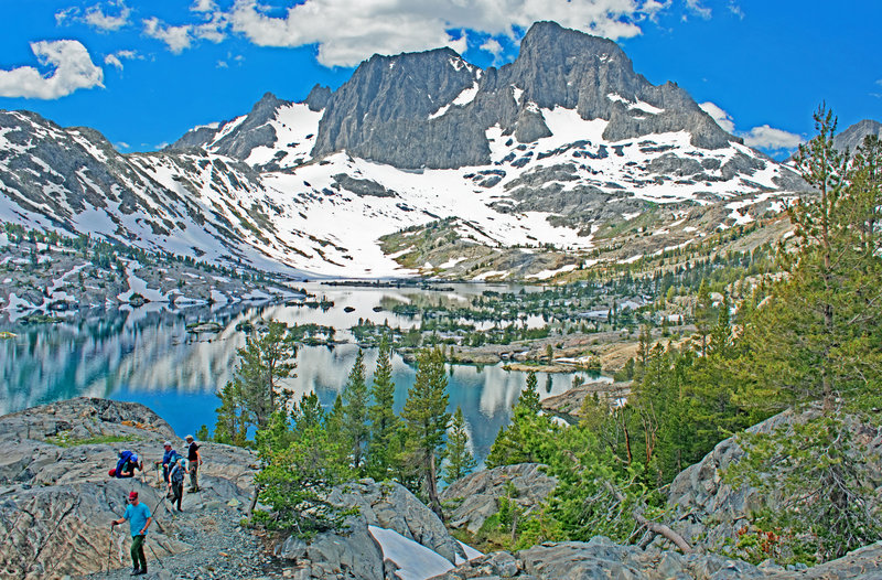Garnet Lake. Banner Peak on the right is 3258 feet above the lake. Mt. Ritter a little to the left and behind Banner is 200 feet higher.