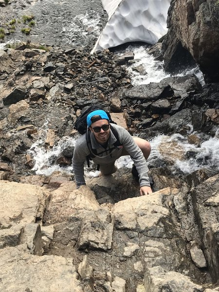 Top of the falls, final pitch to Sky Pond
