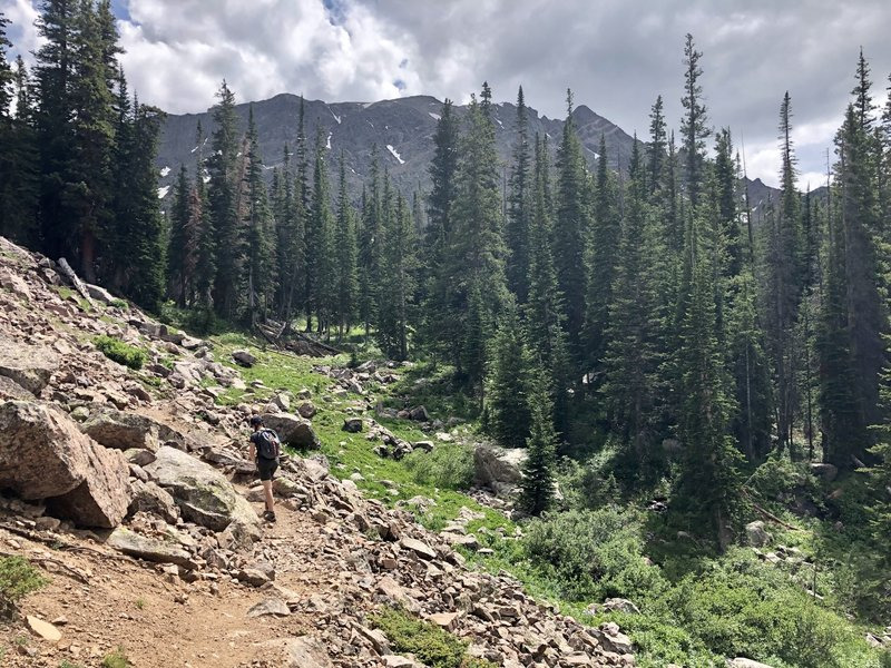 Final descent to Upper Cataract Lake with Eagles Nest looming in the distance.
