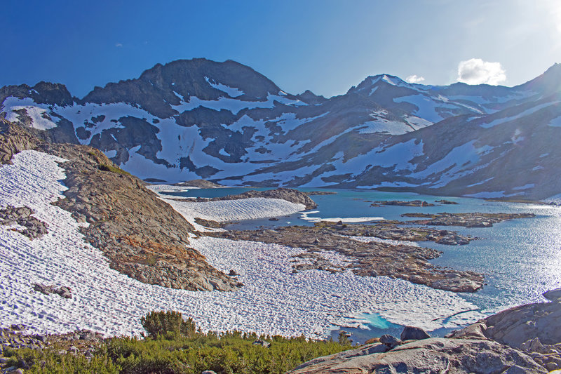 Lower Marie Lake. After the snow has melted, Upper Marie Lake can be reached by scrambling up the rocky slope on the center, right side of the picture.