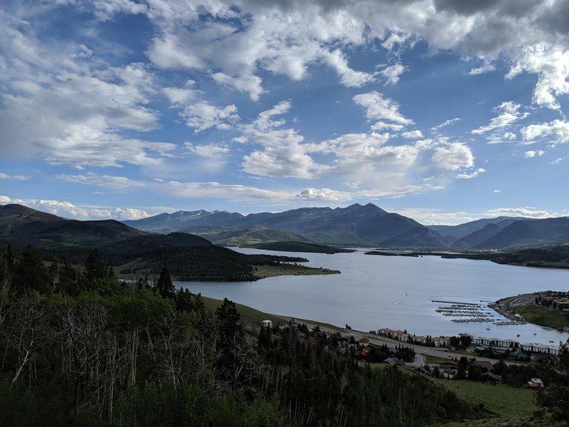 looking down towards Dillon reservoir