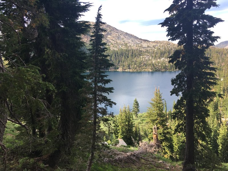 Looking down on Schmidell Lake as we head up to Schmidell pass