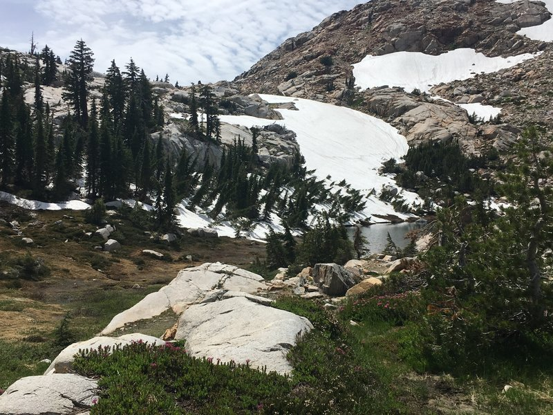 Looking up at Rockbound Pass from Lake Doris. Still quite a bit of snow in August.